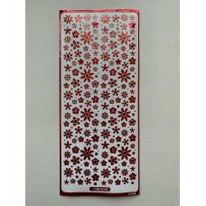 Наклейка контурная №0092, Полевые цветы голография (Красная)