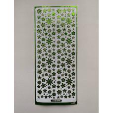 Наклейка контурная №0092, Полевые цветы голография (Зеленая)