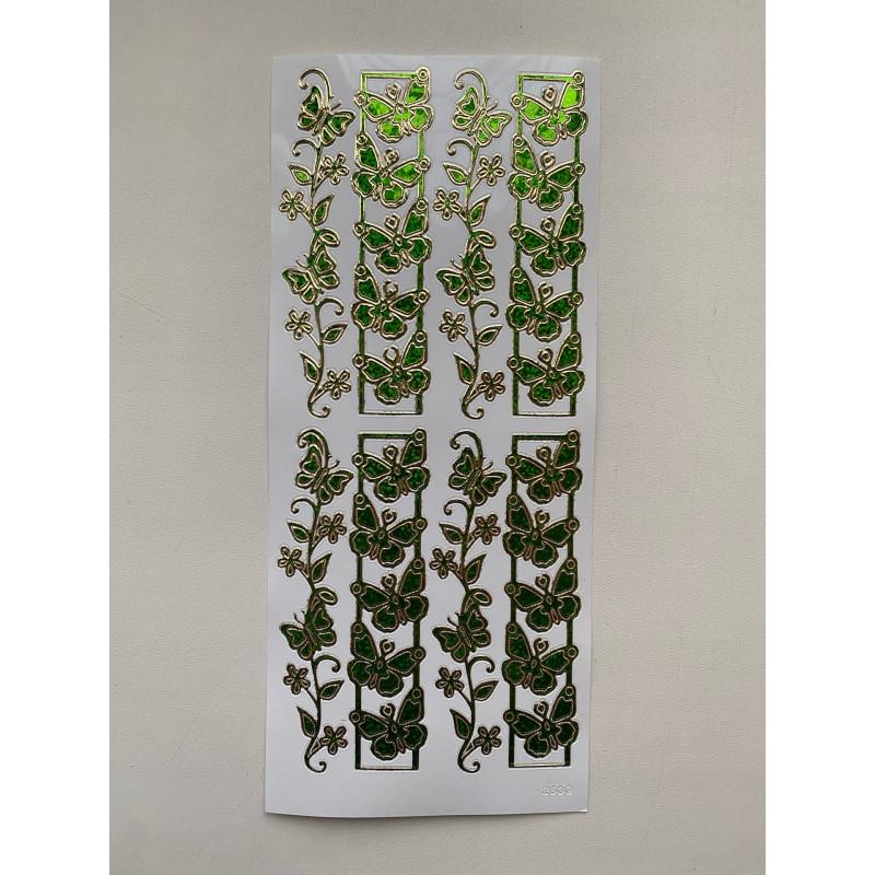 Наклейка контурная №2530, Бабочки - 8, Голография (Зеленая)