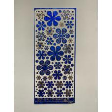 Наклейка контурная №4039, Полевые цветы большие голография (Синяя)
